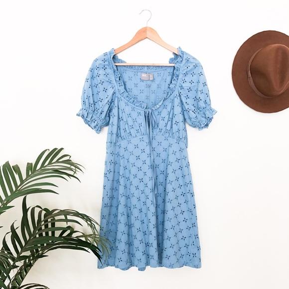 ASOS Blue Eyelet Mini Dress